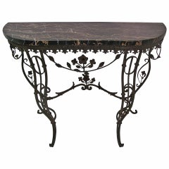 Mid Century French Iron and Portoro Mable Console Table
