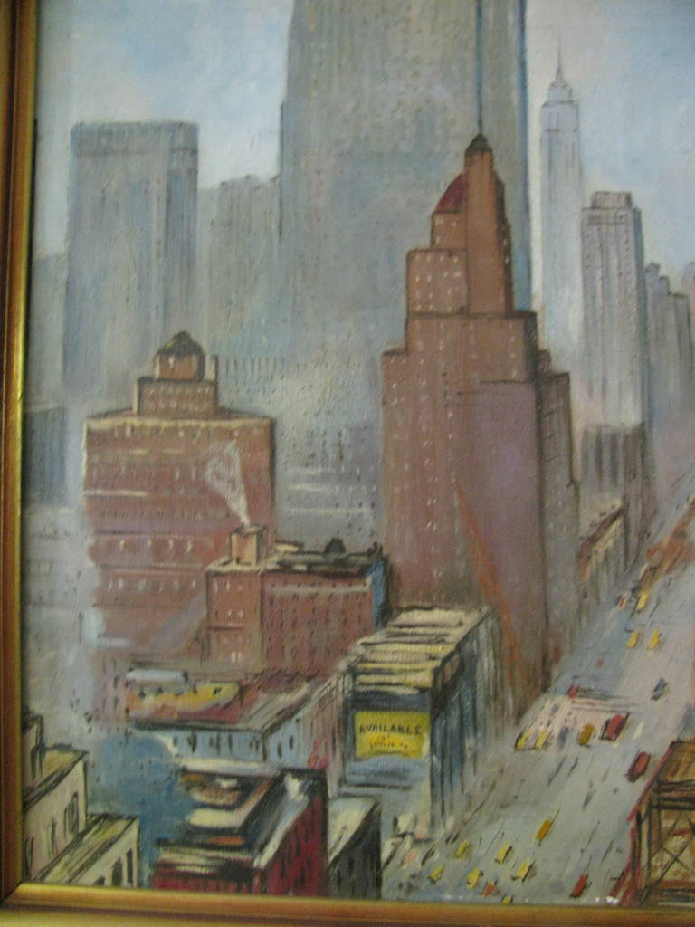 lower manhattan nyc oil on canvas boudreau for sale at 1stdibs. Black Bedroom Furniture Sets. Home Design Ideas