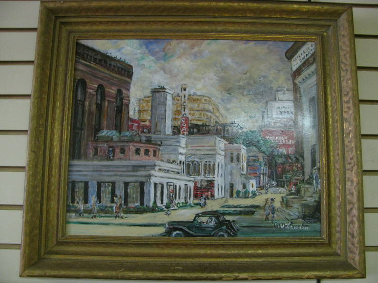 Beautiful oil on board painting of downtown Norfolk Virginia from the 1950s.