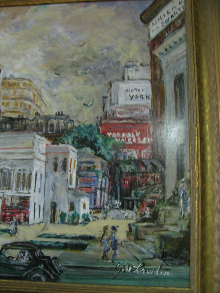 Wood Impressionist View Norfolk Virginia, J Winston Lawler For Sale