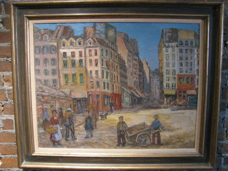 Well constructed impressionist painting depicting a Paris street scene. Fantastic color.