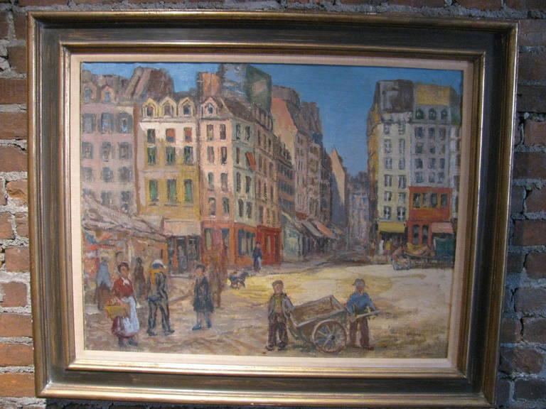 French Paris Street Scene 1912 by Artist Albert Abramovitz For Sale