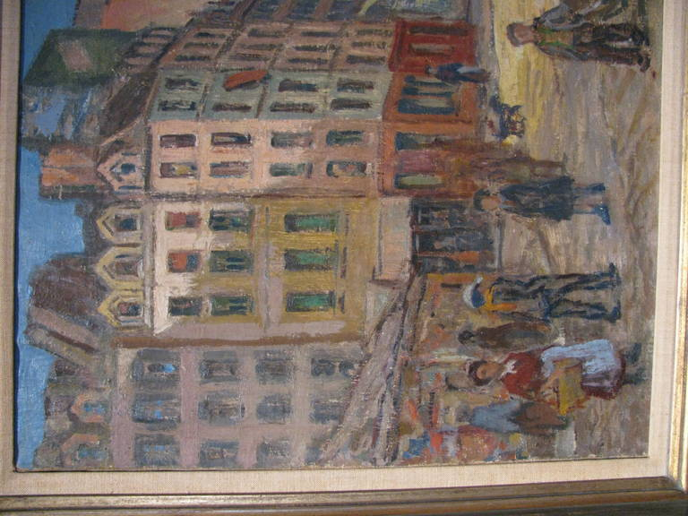 Paris Street Scene 1912 by Artist Albert Abramovitz In Excellent Condition For Sale In Port Jervis, NY