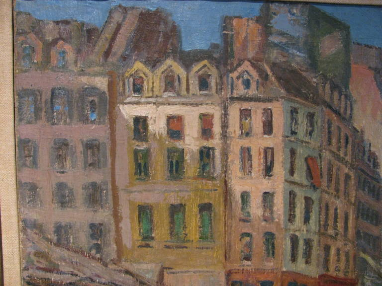 Canvas Paris Street Scene 1912 by Artist Albert Abramovitz For Sale