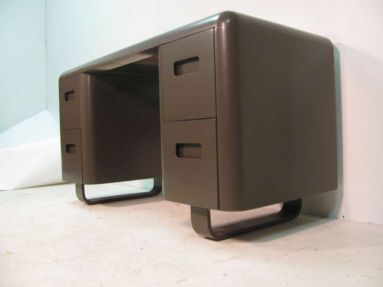 Mid-20th Century Mid-Century Modern Pair of Plymodern Dressers with Vanity and Bench Paul Goldman For Sale