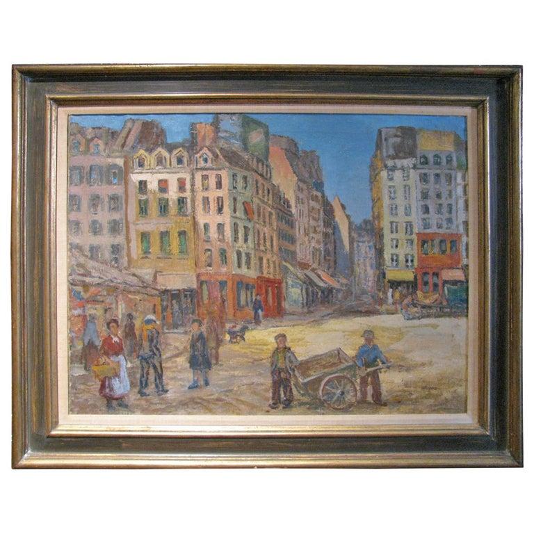 Paris Street Scene 1912 by Artist Albert Abramovitz For Sale