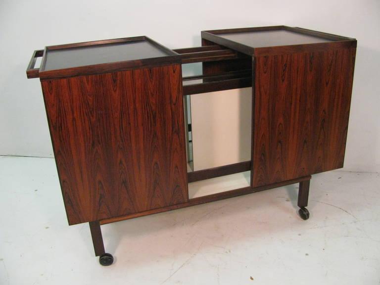Mid Century Modern Danish Rosewood Bar Cart For