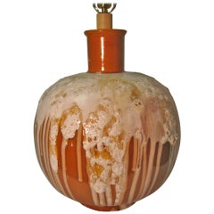 Large Midcentury Root Beer Float Drip Glaze Table Lamp