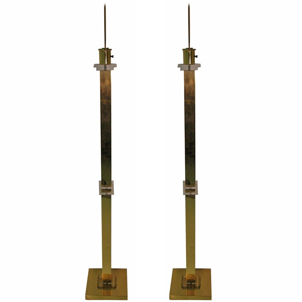 Pair of Frederick Cooper Brass and Lucite Floor Lamps