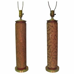 Pair of Tall Antique Wall Paper Roll Table Lamps
