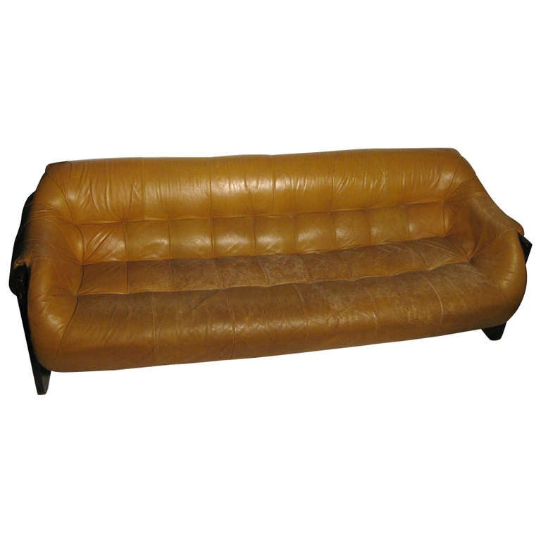 Mid Century Modern Sofa By Percival Lafer Rosewood and Leather