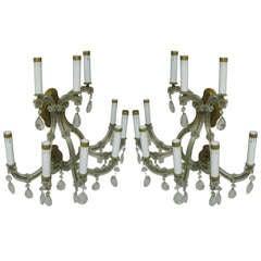 Pair Of Large Venetian Glass Nine Arm Two Tier Sconces