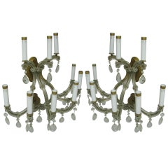 Pair of Large Mid Century Venetian Glass Nine-Arm Two-Tier Sconces