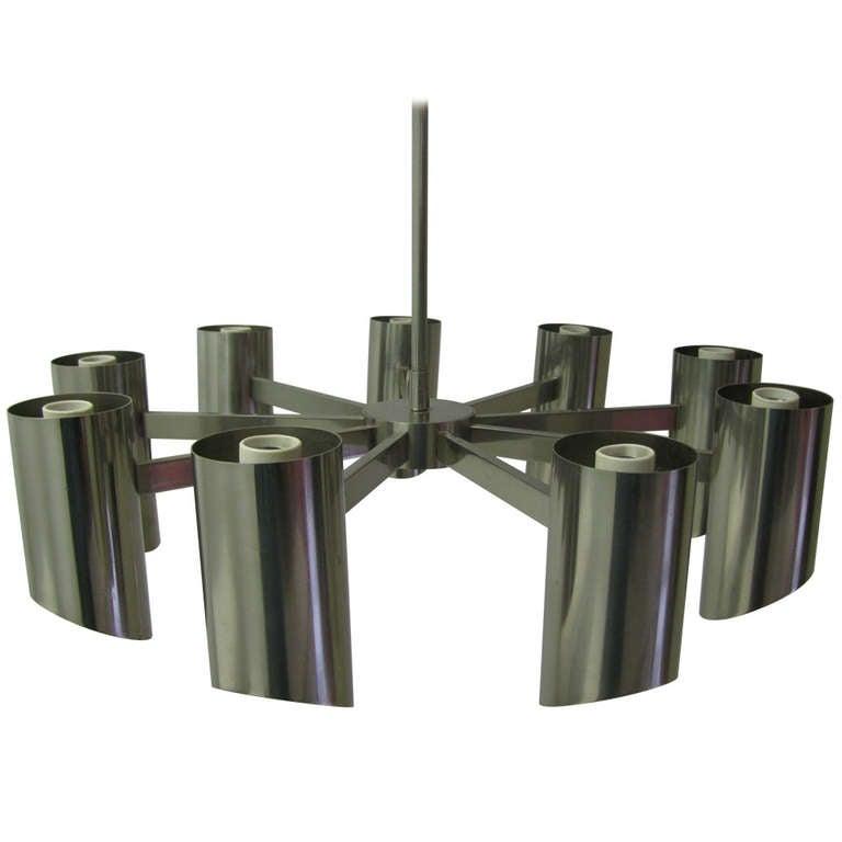 Stainless steel chandelier by angelo lelli for arredoluce for Arredo luce