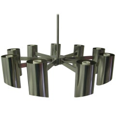 Stainless Steel Chandelier by Angelo Lelli for Arredoluce
