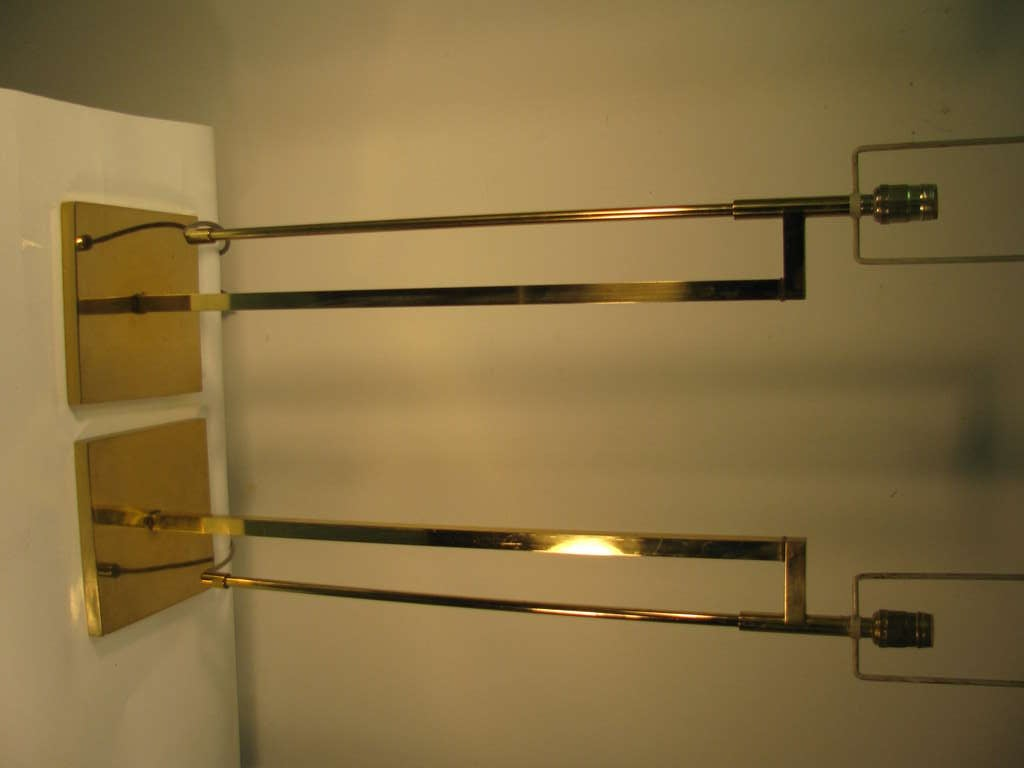 Pair Of Tall Mid Century Architectural Brass Table Floor Lamps By Laurel At 1stdibs