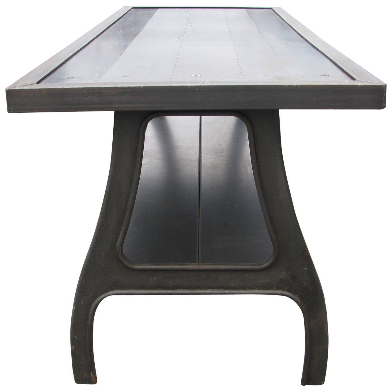 Fabulous seven foot cast iron and steel dining table at for Cast iron dining table
