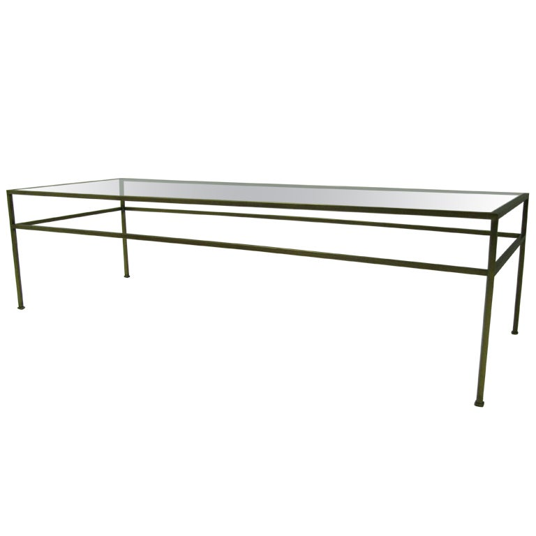 Architectural mid century satin brass cocktail coffee for Architectural coffee table