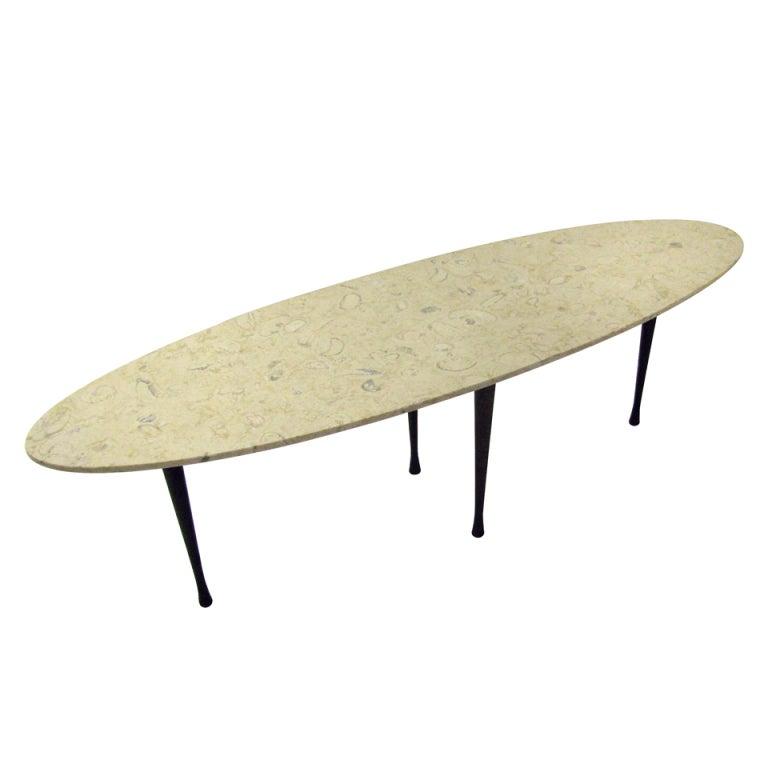 Mid Century Surfboard Coffee Table At 1stdibs: Mid Century Elliptical Italian Marble Cocktail / Coffee