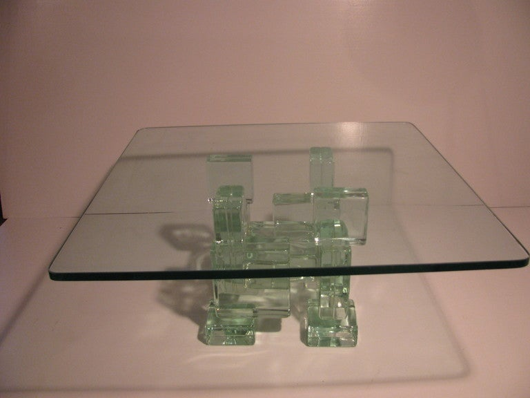 Mid-Century Italian Architectural Glass Block Cocktail or Coffee Table 4