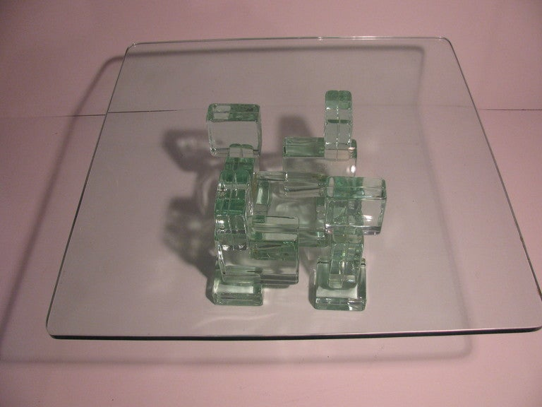 Mid-Century Italian Architectural Glass Block Cocktail or Coffee Table 7