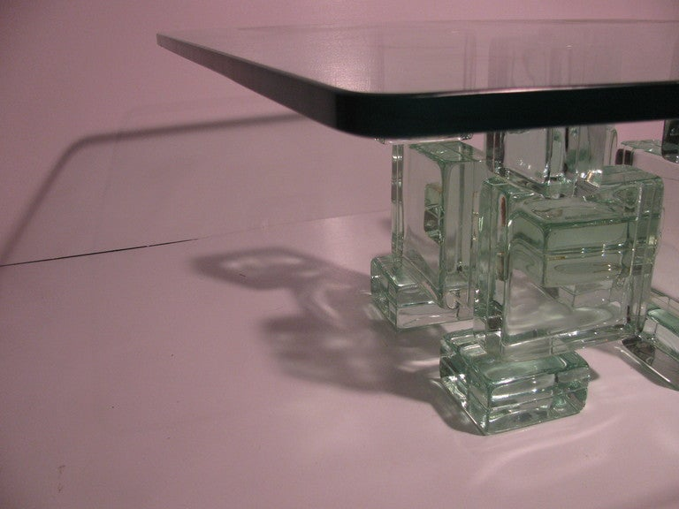 Mid-20th Century Mid Century Modern Italian Architectural Glass Block Cocktail Table For Sale