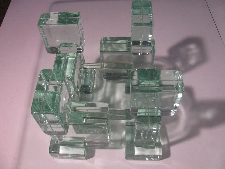Mid Century Modern Italian Architectural Glass Block Cocktail Table In Excellent Condition For Sale In Port Jervis, NY