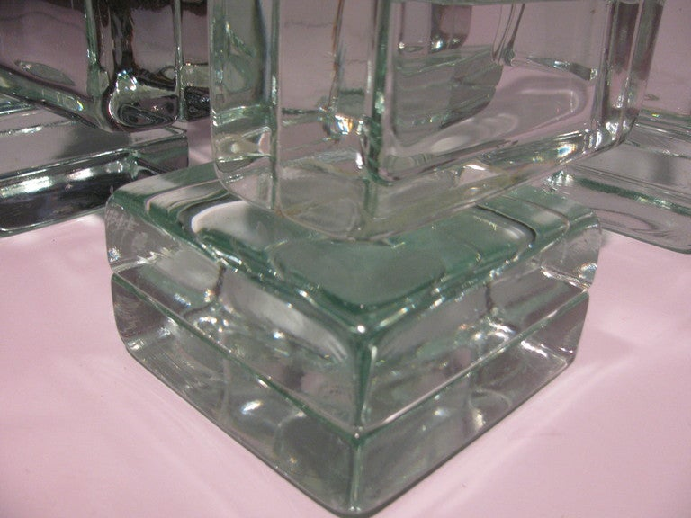 mid century italian architectural glass block cocktail or