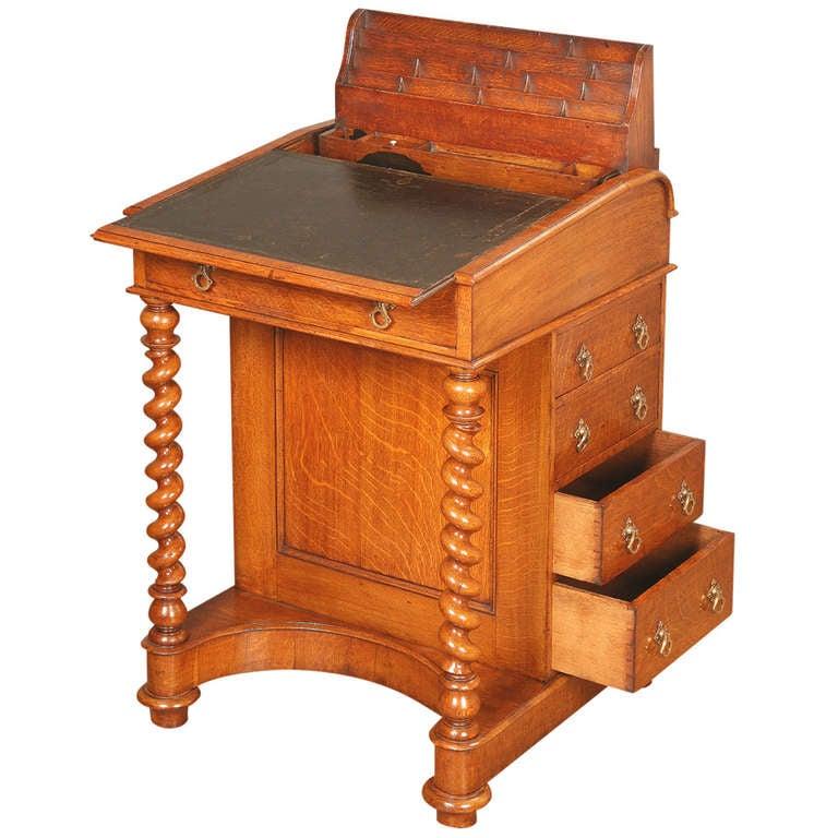Antique Oak Davenport Desk By Jw And T Allen At 1stdibs