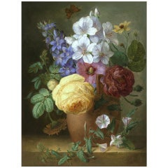 Flowers on a Marble Ledge Painting by Élise Bruyère