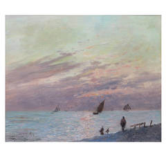 View of the Beach at Saint Andress in France, Painting