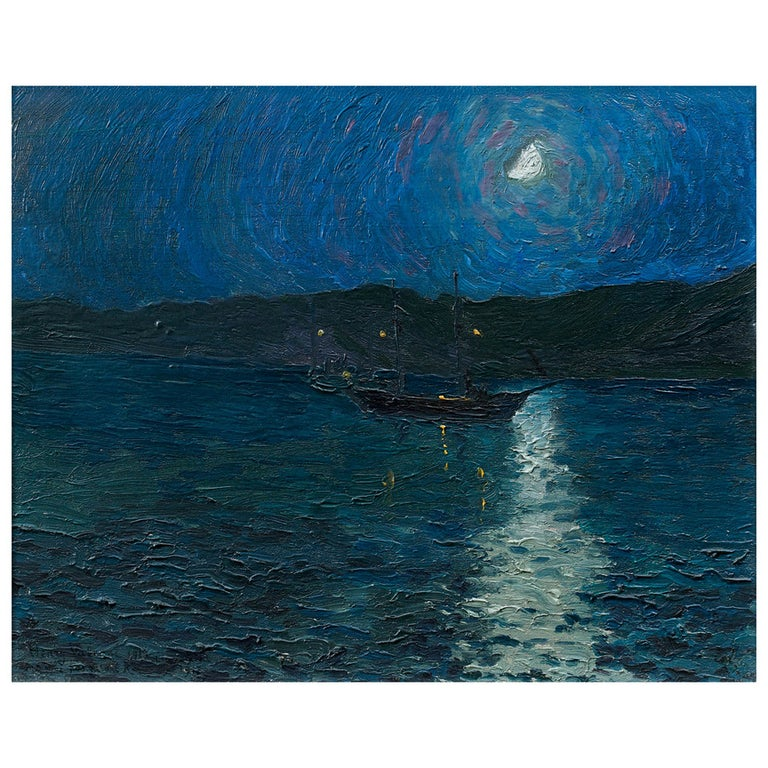 """Clazomènes in Moonlight,"" Painting For Sale"