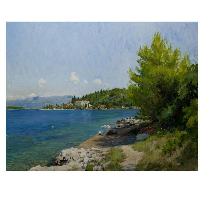"""""""View of the Sea at Vrnik,"""" Painting of Croatia"""