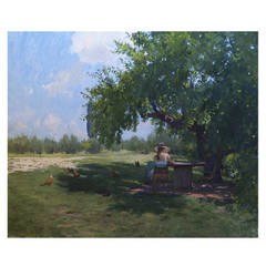 Reading under a Mulberry Tree in a Tuscan Garden, Painting
