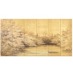 Sugawara Sachiyo Screen Painting of the Moon & Flowering Cherry