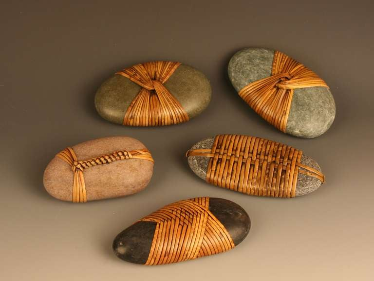 Basketry In Art : Wrapped stone sculptures by del webber at stdibs