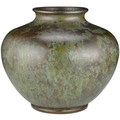 Jade Green Patinated Bronze Vase by Okazaki Sessei
