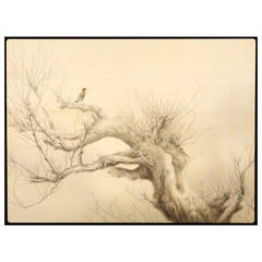 Tasaki Fuzan Painting of an Ancient Willow in Early Spring