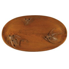 Shochikusai Yuho Carved Sencha Tray with Flying Bats