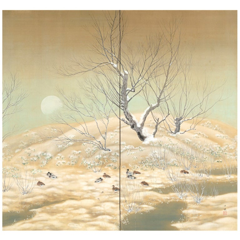 Winter Landscape Screen by Sasaki Rinpu