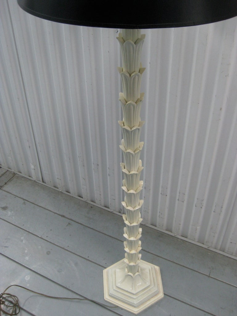 Hollywood Regency Painted Metal Palm Floor Lamp