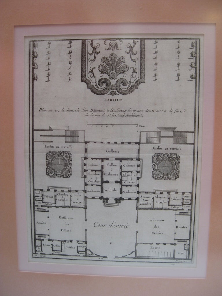18th century french garden plan prints pair for sale at for Garden design 18th century