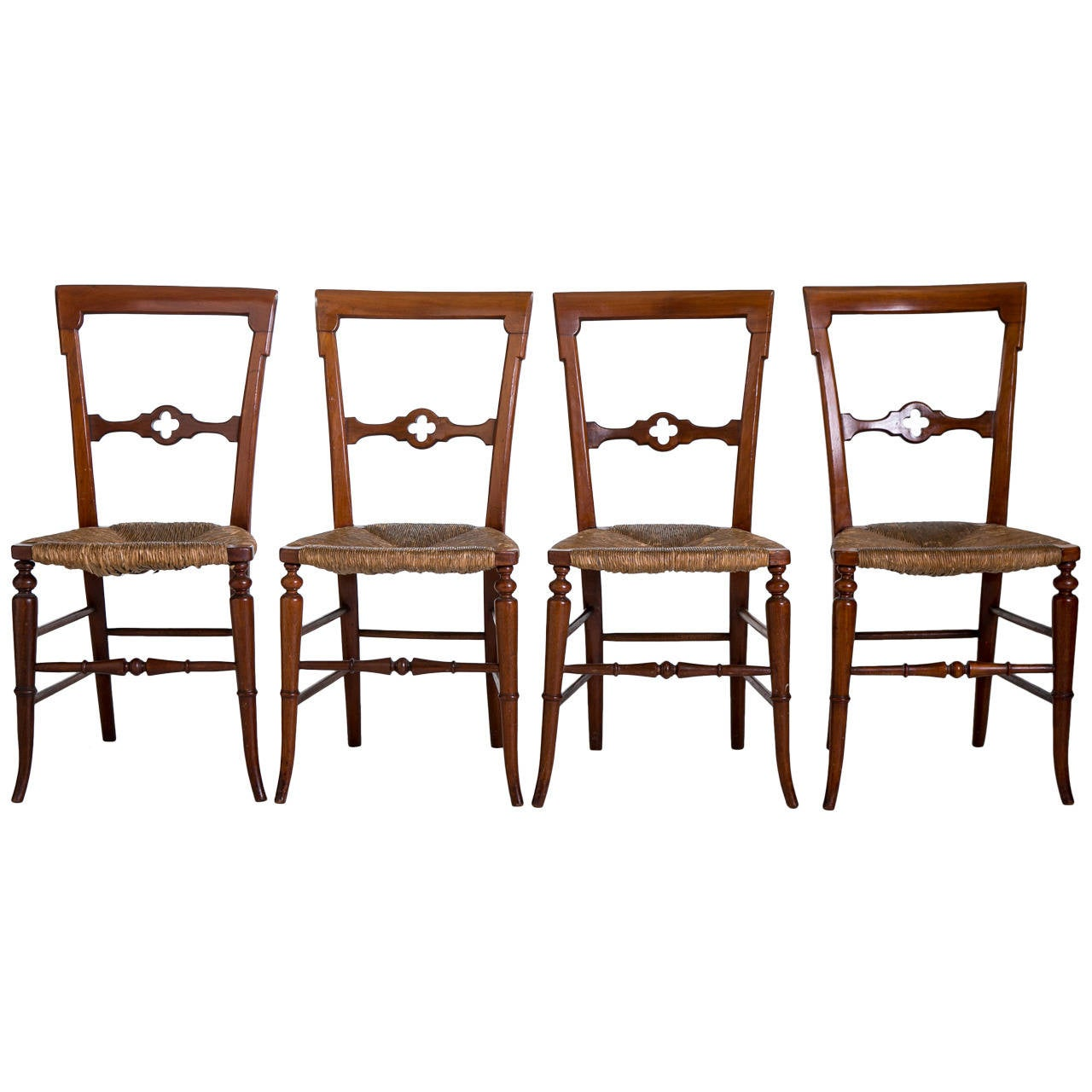 English Gothic Dining Chairs with Rush Seats, 1800s For Sale