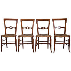 English Gothic Dining Chairs with Rush Seats, 1800s