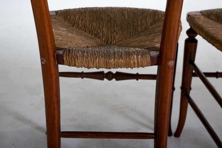 English Gothic Dining Chairs with Rush Seats, 1800s For Sale 1
