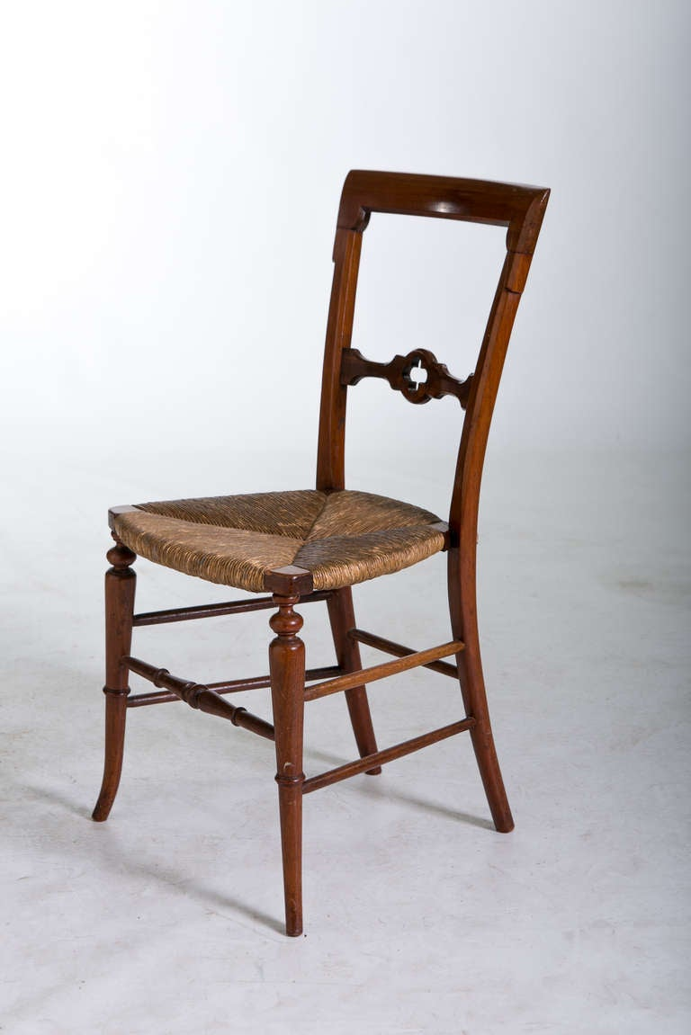 Antique wooden dining chair - English Gothic Dining Chairs With Rush Seats 1800s 3