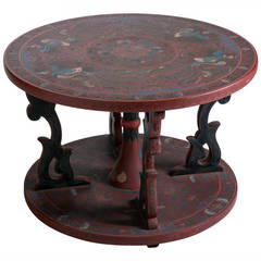 Chinoiserie Table with Lacquered Floral Bird Motif
