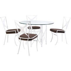 Hollywood Regency Metal Outdoor Dining Set