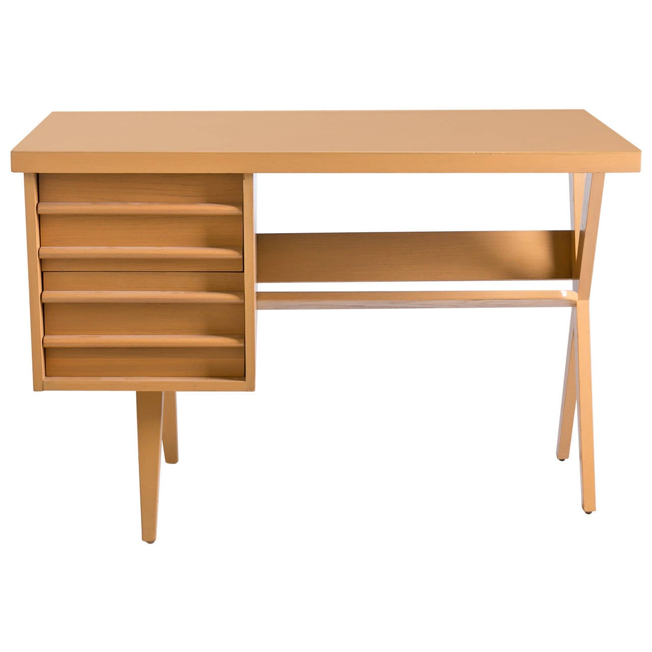 Mid Century Blonde Desk At 1stdibs