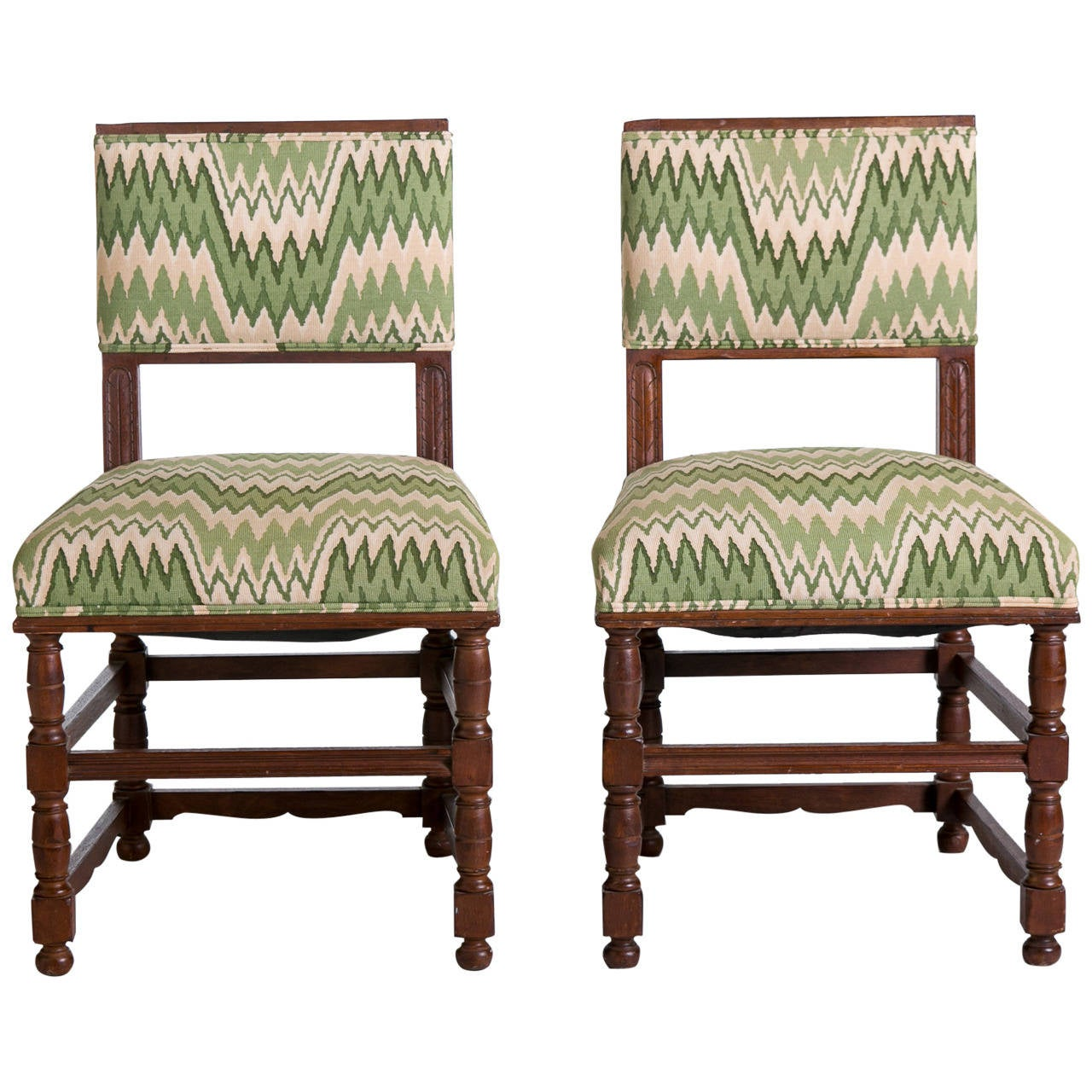 english tudor style side chairs with flame stitch fabric pair at
